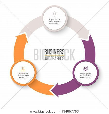 Circular arrows for infographics. Chart, graph, diagram with 3 steps, options, parts. Vector business template.