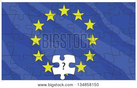 European Union flag puzzle  in the background. vector illustration.
