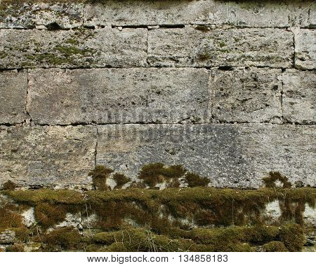 The texture of the stones in the blank stone wall that separates the park Sylvia in the Gatchina park.