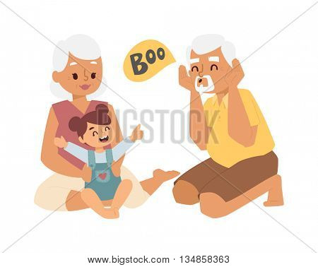 Grandfather, grandmother and granddaughter vector illustration.