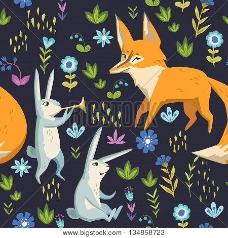 Rabbits and fox on a forest glade. vector seamless pattern with cute characters and floral elements