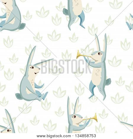 Rabbits on a forest glade. vector seamless pattern with cute characters and floral elements