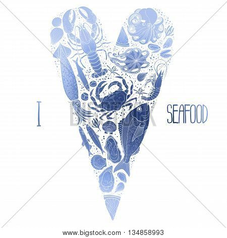 Graphic seafood in the shape of tilda heart. Sea and ocean creatures isolated on white background