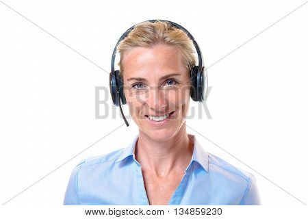 Smiling Blond Woman With Telephone Headset