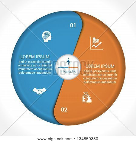 Template infographic two position steps parts with text area vector illustration colourful in the form of flower petals. Business pie chart diagram data.