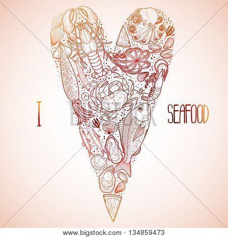 Graphic seafood in the shape of tilda heart. Sea and ocean creatures isolated on white background. Coloring book page design