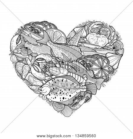 Graphic seafood in the shape of heart. Sea and ocean creatures isolated on white background. Coloring book page design for adults and kids