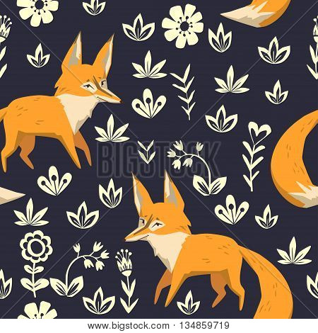Fox on a forest glade. vector seamless pattern with cute character and floral elements