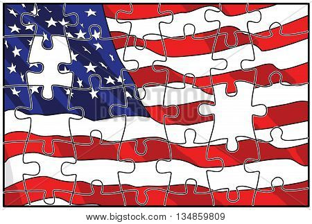 Illustration of American flag puzzles in the background