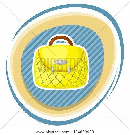 Woman handbag colorful icon. Vector illustration in cartoon style