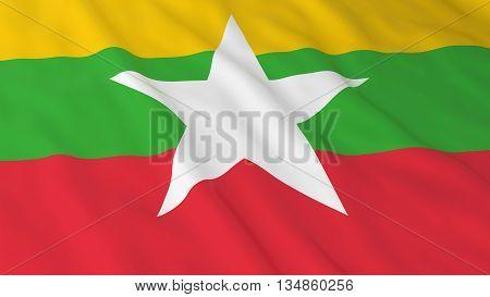 Burmese Flag Hd Background - Flag Of Myanmar 3D Illustration