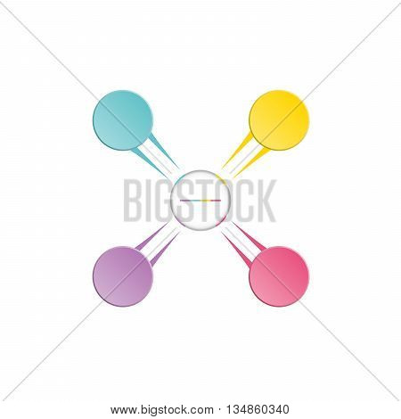 Infographic template colourful in the form of flower petals for four position steps and text area