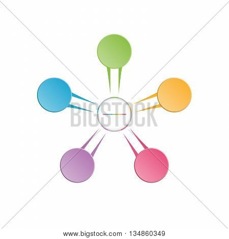 Infographic template colourful in the form of flower petals for five position steps and text area.
