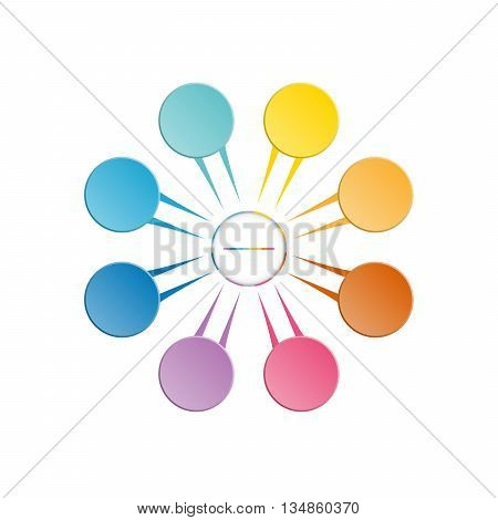 Infographic template colourful in the form of flower petals for eight position steps and text area.
