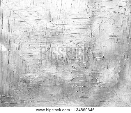 Painted canvas texture, silver color on paper, silver brush stroke closeup