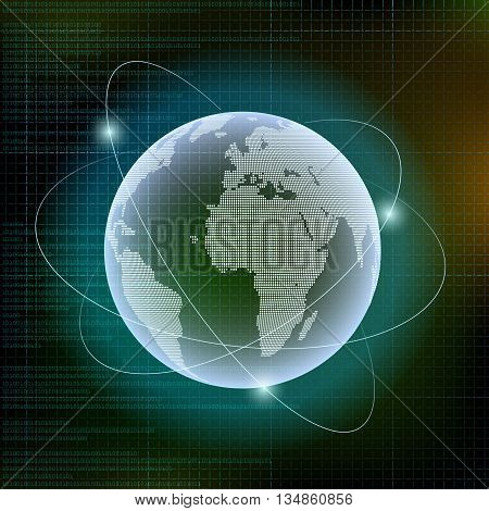 Planet Earth and Digital technology background. Stock vector illustration.