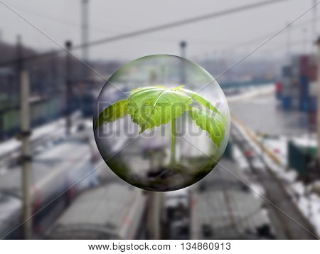 A transparent sphere with a young plant on a background of railway lines. Winter. Concept - protection of the environment climate change. Harmful emissions