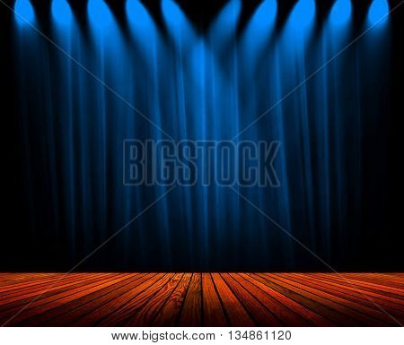 blue curtain with wood plank stage