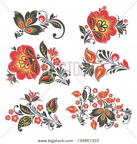 vector Flower set. Romantic Floral elements set. EPS 8