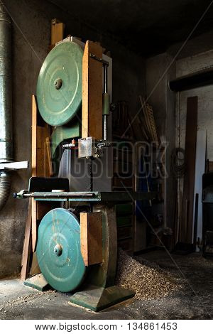 Old Band Saw In Carpentry Workshop