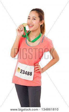 Woman Runner Got Medal Isolated On White.