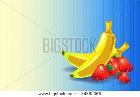 Banana strawberry background in retro style with place for text