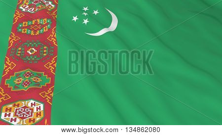 Turkmenistani Flag Hd Background - Flag Of Turkmenistan 3D Illustration