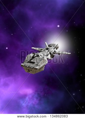 Science fiction illustration of an interplanetary spaceship flying away from a purple nebula in deep space, 3d digitally rendered illustration (3d rendering, 3d illustration)