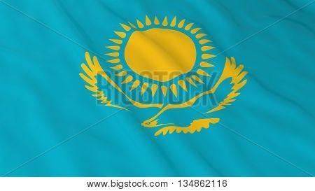 Kazakhstani Flag Hd Background - Flag Of Kazakhstan 3D Illustration