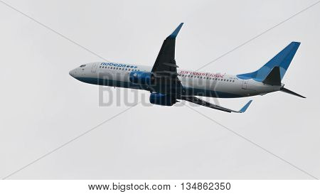 Moscow - June 4 2016: Boeing 737-8LJ (W) of the Russian airline's victory marked