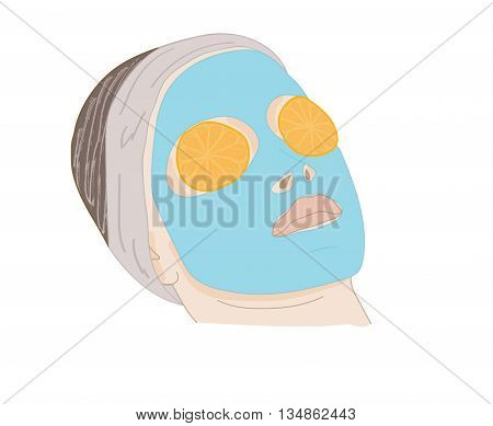 Young woman with clay facial mask. vector illustration.