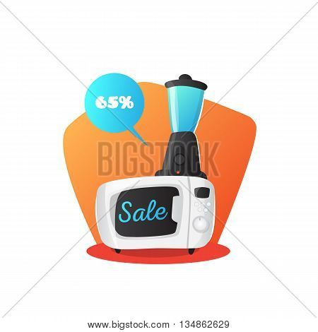 Vector microwave oven and mixer illustration in cute cartoon style. Kitchen electronics sale concept.
