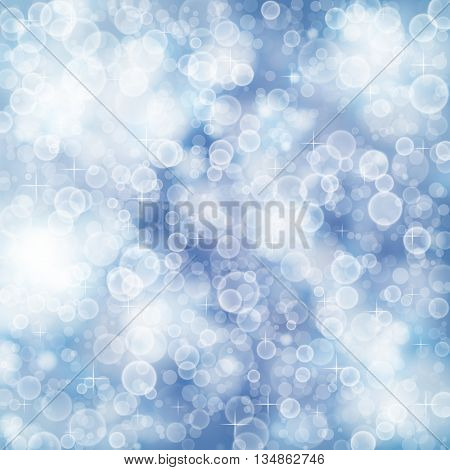 Flying out of focus light on a blue blurred background. Defocused graphic illustration