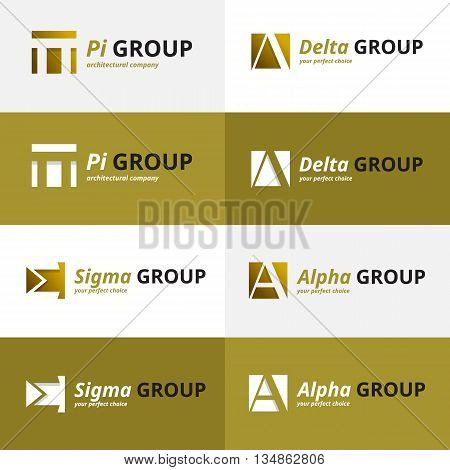 Vector minimalistic negative space greek letters logo collection