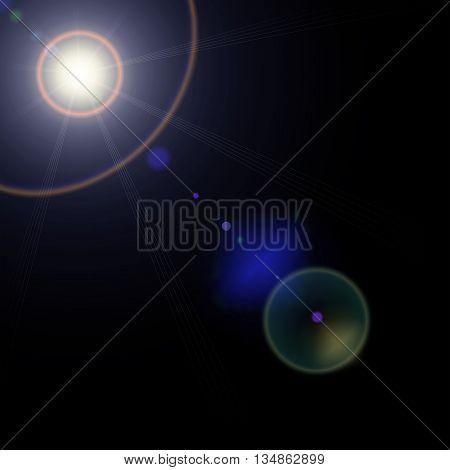 Realistic lens flares star lights on transparent background Graphic illustration