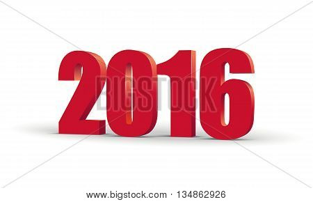 The new year 2016. Red 3d perspective inscription. Graphic illustration