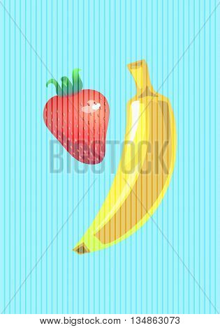 Banana and strawberry vertical vector illustration in pop art style
