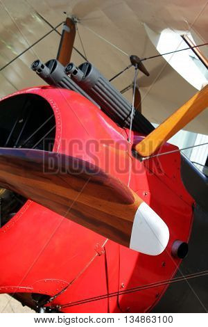 Abstract Flying Scene. Old Fashioned Bi-Plane London England