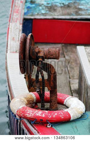 Abstract Rustic Colourfull Boat Scene with Life Bouy Dorset England