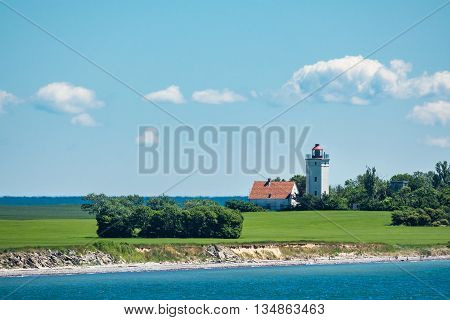 Lighthouse on the Baltic Sea coast in Gedser (Denmark).
