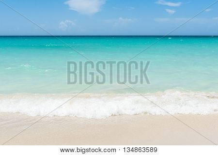 Caribbean dream beach in Cuba Varadero with waves