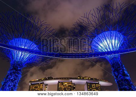 SINGAPORE - JUNE 27 2015 : Night view of Supertree Grove at Gardens near Marina Bay and Marina Bay Sands hotel.