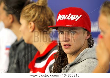 BARCELONA - JUN, 11: Hungarian swimmer Katinka Hosszu during the Trophy Ciutat de Barcelona in Sant Andreu Club, June 11, 2016 in Barcelona, Spain