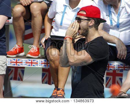BARCELONA - JUN, 11: American swimming coach, of Katinka Hosszu, Shane Tusup during the Trophy Ciutat de Barcelona in Sant Andreu Club, June 11, 2016 in Barcelona, Spain