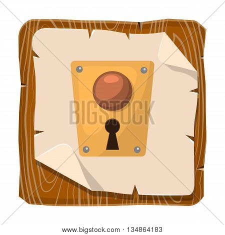 Lock colorful icon. Vector illustration in cartoon style