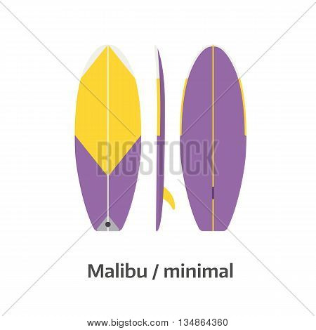 Malibu Minimal Surfboard Desk Vector Illustration