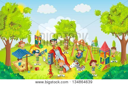 Children playing in the park vector illustration