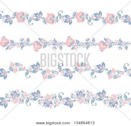 Seamless floral borders elements. Romantic vector Flower set. EPS 8