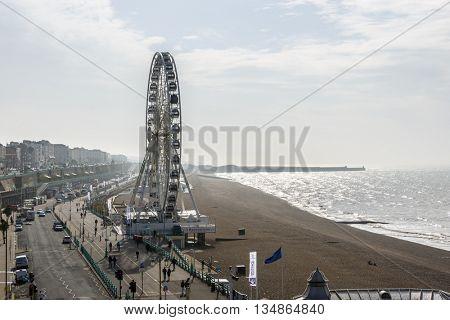BRIGHTON, UK - CIRCA APRIL 2013: The Brighton Wheel on the seafront.