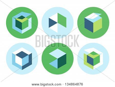blue green icons business boxes website vector logo concepts